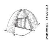 tent. vector sketch objects... | Shutterstock .eps vector #654293815