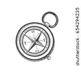 compass. vector sketch objects... | Shutterstock .eps vector #654294235