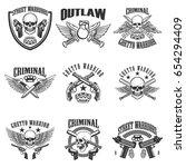 set of outlaw  criminal  street ... | Shutterstock .eps vector #654294409