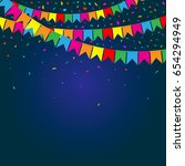 party flags with confetti.... | Shutterstock .eps vector #654294949