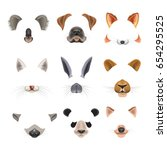 Stock vector video chat effects animal faces flat icons templates of dog rabbit cat 654295525