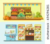 counters of shop or store and... | Shutterstock .eps vector #654296281