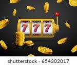slot machine lucky sevens... | Shutterstock .eps vector #654302017