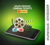 cinema movie ticket online... | Shutterstock .eps vector #654302059