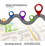 road infographic. colorful pin... | Shutterstock .eps vector #654302101