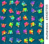 iridescent ice cream in waffle... | Shutterstock . vector #654307555