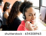 smiling black businesswoman... | Shutterstock . vector #654308965