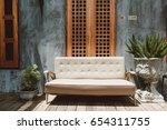white sofa in vintage house... | Shutterstock . vector #654311755