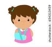 cute girl hand bone broken from ... | Shutterstock .eps vector #654313459