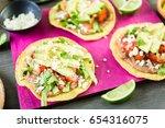 fresh vegeterian mexican... | Shutterstock . vector #654316075