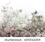 abstract colorful flowers... | Shutterstock . vector #654316354