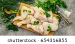 chicken pieces on the board....   Shutterstock . vector #654316855