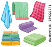 cartoon towels vector set.... | Shutterstock .eps vector #654323371