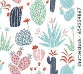 vector floral seamless pattern...   Shutterstock .eps vector #654334867
