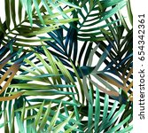 palm leaves seamless pattern.... | Shutterstock . vector #654342361