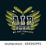 air show emblem. graphic design ... | Shutterstock .eps vector #654342991