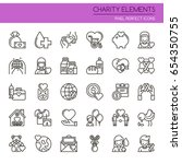 charity elements   thin line... | Shutterstock .eps vector #654350755