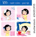 kids   routine actions   tooth... | Shutterstock . vector #654351955