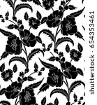 seamless black and white floral ... | Shutterstock .eps vector #654353461