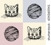 vector illustration. cat and... | Shutterstock .eps vector #654360541