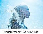 summer portrait of a girl in... | Shutterstock . vector #654364435