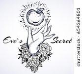 eve's hand holding forbidden.... | Shutterstock .eps vector #654364801