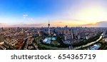 the sunset of chengdu tv towers | Shutterstock . vector #654365719