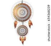 boho style glossy ornamental... | Shutterstock .eps vector #654368239