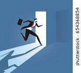 businessman opening the door.... | Shutterstock .eps vector #654368854