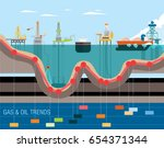 oil and gas offshore drilling... | Shutterstock .eps vector #654371344