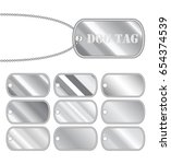 set of a steel dog tag vector... | Shutterstock .eps vector #654374539