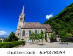 vaduz cathedral  or cathedral... | Shutterstock . vector #654378094
