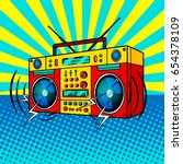 boombox comic book pop art... | Shutterstock .eps vector #654378109