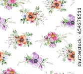 watercolor flower print. modern ... | Shutterstock . vector #654378511