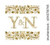 y and n initials vintage logo.... | Shutterstock .eps vector #654378745