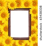 Frame  Surrounded By Sunflower.