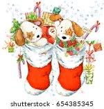 cute cartoon puppy illustration.... | Shutterstock . vector #654385345