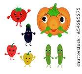 different vector vegetables on... | Shutterstock .eps vector #654385375