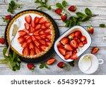 delicious sponge cake with... | Shutterstock . vector #654392791