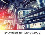 equipment  cables and piping as ... | Shutterstock . vector #654393979