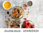 granola with dry fruits  nuts...   Shutterstock . vector #654405424