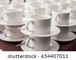 white tea cup close up | Shutterstock . vector #654407011