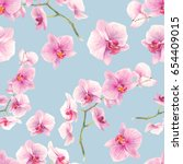 watercolor orchid flowers... | Shutterstock . vector #654409015
