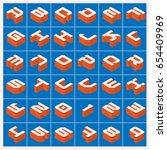 vector a z alphabet orange text ... | Shutterstock .eps vector #654409969