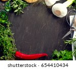fresh herbs and  spices on ... | Shutterstock . vector #654410434