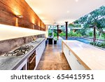 outdoor kitchen with a stove an ... | Shutterstock . vector #654415951