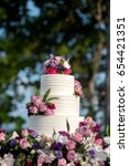 beautiful wedding cake  close... | Shutterstock . vector #654421351