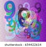 9 number texture template | Shutterstock .eps vector #654422614