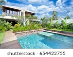modern blue water swimming pool ... | Shutterstock . vector #654422755