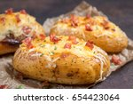 baked stuffed potatoes with...   Shutterstock . vector #654423064